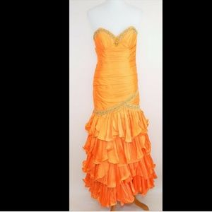 TIFFANY DESIGNS Orange Beaded strapless dress gown